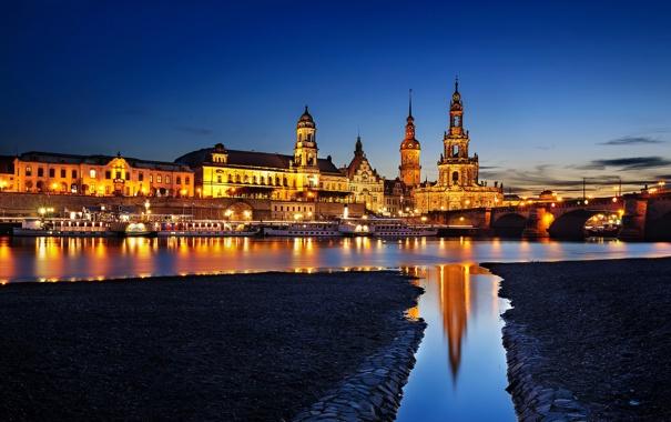 Фото обои ночь, мост, город, огни, река, берег, здания