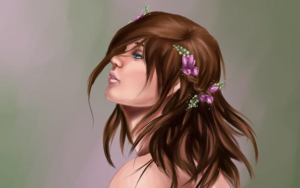 Фото обои взгляд, девушка, цветы, ресницы, фон, волосы, арт