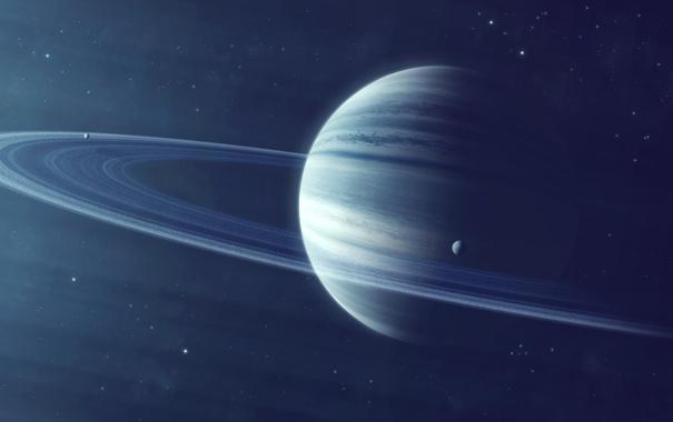 Фото обои звезды, кольца, спутники, газовый гигант