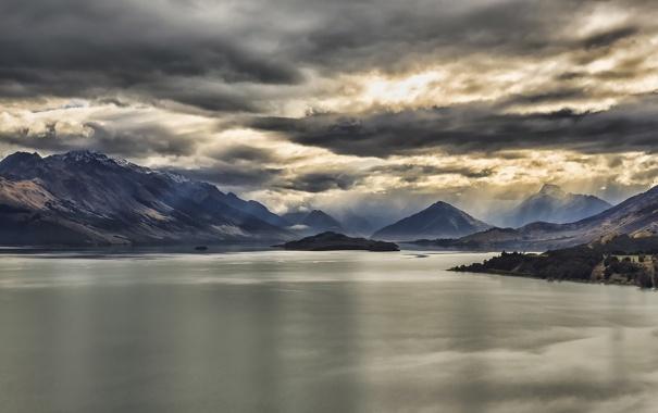 Фото обои горы, Гленорчи, озеро, тучи, Новая Зеландия