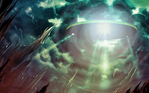 Фото обои тарелка, небо, прибытие, нло, свет, летающая, пришельцы