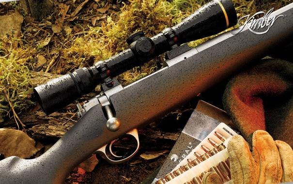 Фото обои rifle, scope, gloves, ammunition, Kimber, Cap