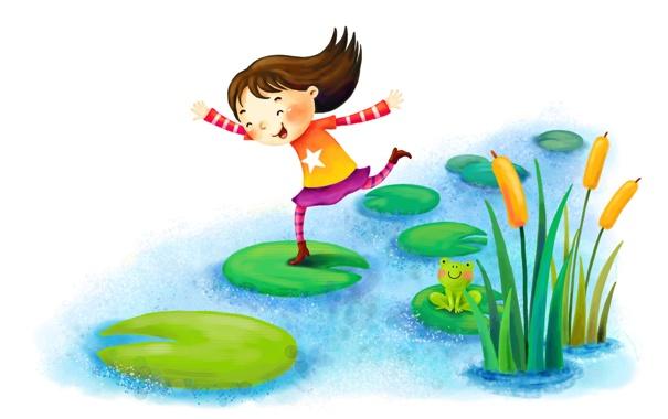 Фото обои камыши, рисунок, лягушка, смех, девочка, речка, кувшинки