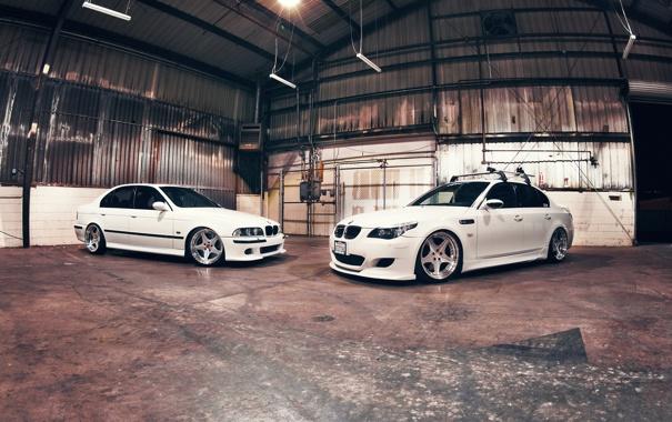 Фото обои BMW, Тюнинг, Белая, БМВ, Диски, Tuning, E39