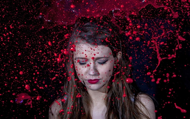 Фото обои Red, Paint, model, pose
