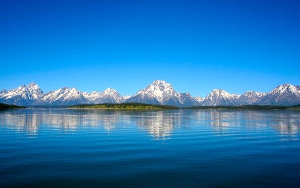 Фото обои небо, вода, снег, деревья, пейзаж, горы, природа