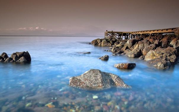 Фото обои море, небо, вода, мост, камни, берег