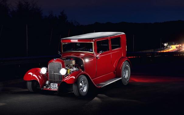 Фото обои car, Hot Rod, Red Ford