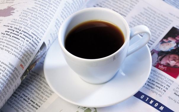 Фото обои кофе, кружка, белая, журнал
