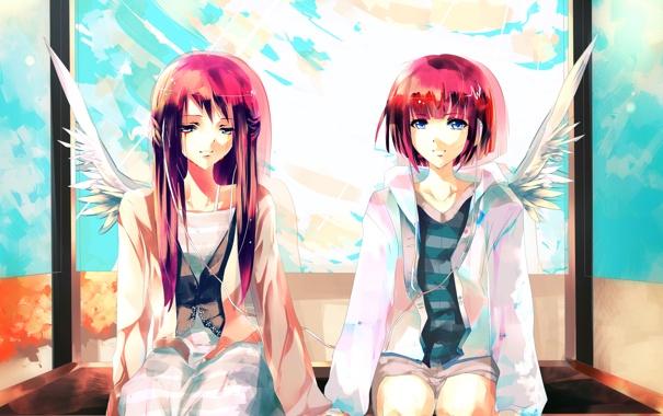 Фото обои небо, облака, девочки, крылья, art, сидят, Aiki-ame