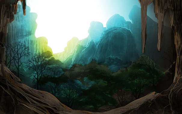 Фото обои деревья, закат, горы, скалы, арт, грот