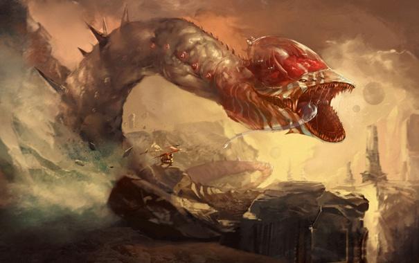 Фото обои язык, горы, человек, монстр, зубы, флаг, пасть