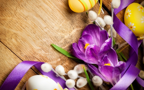 Фото обои цветы, ветки, ленты, яйца, лепестки, верба