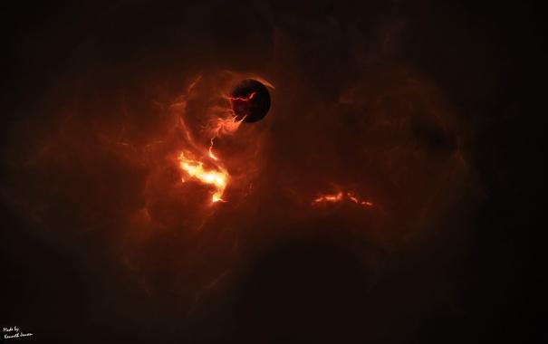 Фото обои облака, планета, раскаленная, газ