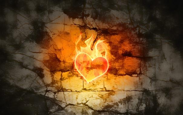 Фото обои свет, трещины, стена, пламя, сердце