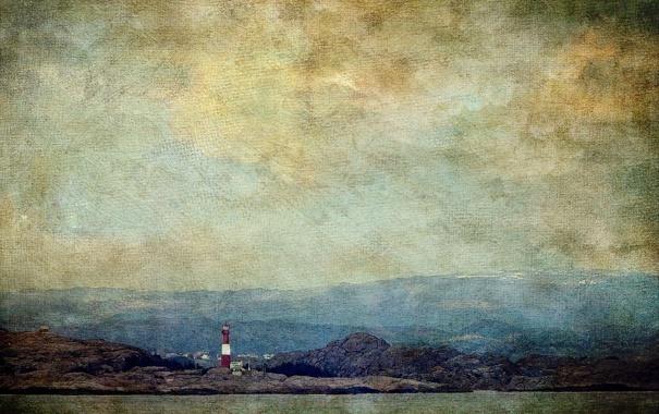Фото обои небо, горы, озеро, камень, маяк, горизонт