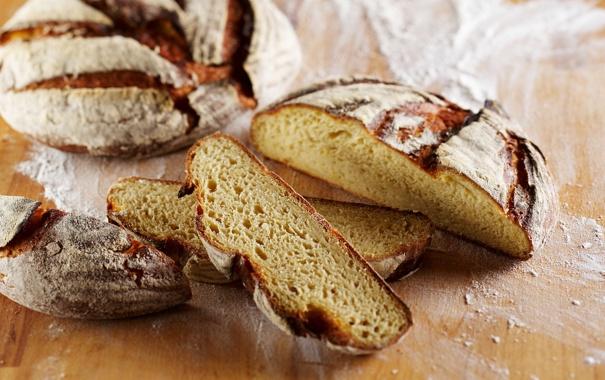 Фото обои стол, хлеб, мука, ломти