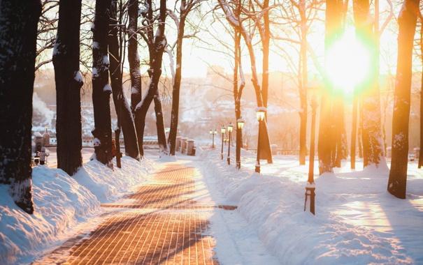 Фото обои снег, город, фонарь, Россия, Russia, Калуга, Kaluga