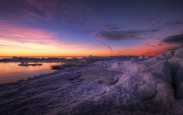 Фото обои закат, лёд, река