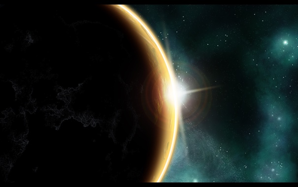 Фото обои солнце, поверхность, восход, планета, атмосфера, континенты