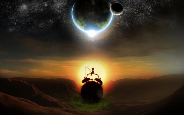 Фото обои солнце, закат, луна, часы, планета, спутник, звёзды