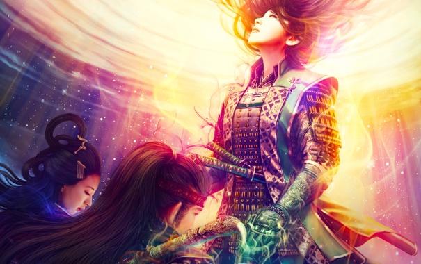 Фото обои доспехи, звезды, самураи, Девушки, магия, мужчина, мечи