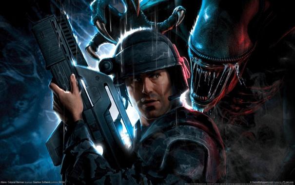 Фото обои чужой, автомат, Aliens, морпех, clonial marines