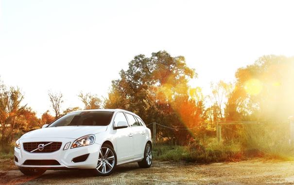 Фото обои солнце, лучи, пейзаж, природа, Volvo, Вольво, cars