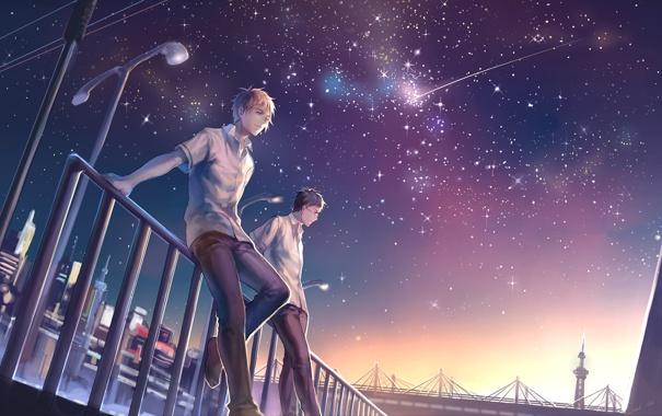 Фото обои звезды, ночь, город, фонари, парни, падающая звезда, Kuroko no Basket