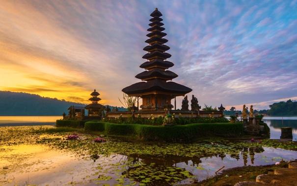 Фото обои рассвет, Бали, Индонезия, храм Пура Улун Дану, озеро Братан