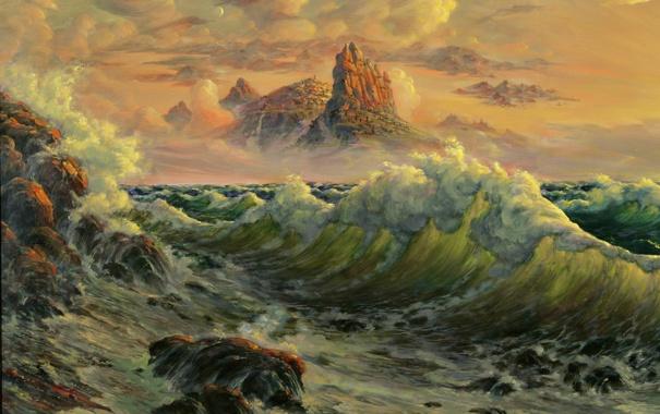 Фото обои море, фантазия, волна, Репродукция