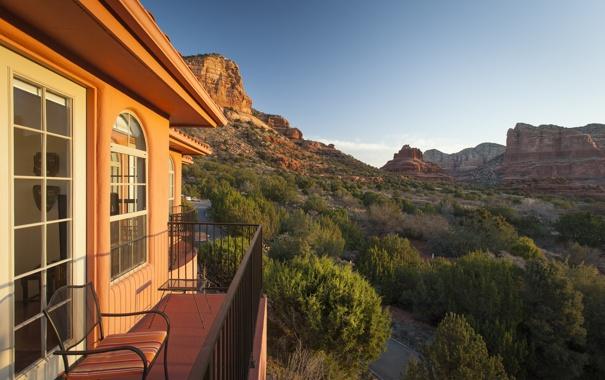 Фото обои природа, каньон, дом