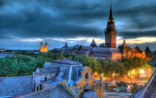 Фото обои дома, красота, площадь, церковь, собор, фонтан, Сербия