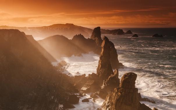 Фото обои волны, свет, океан, скалы, берег, Австралия