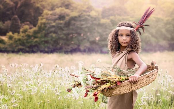 Фото обои цветы, природа, девочка