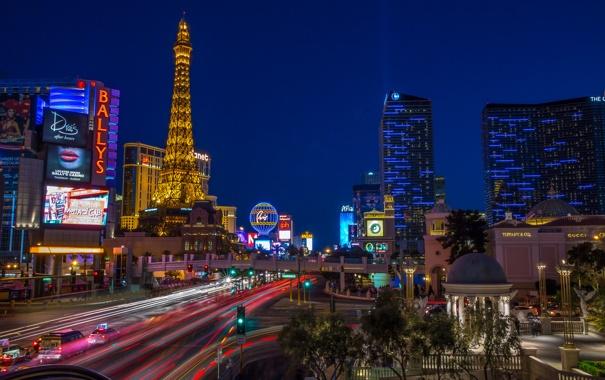 Фото обои ночь, огни, башня, дома, Лас-Вегас, США, Невада