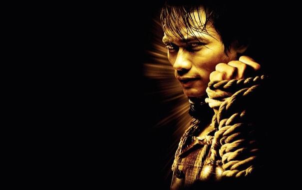 Фото обои темный фон, веревка, боец, кулак, Тони Джа, Tony Jaa, Tom yum goong