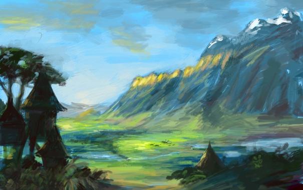 Фото обои природа, дерево, гора, домики