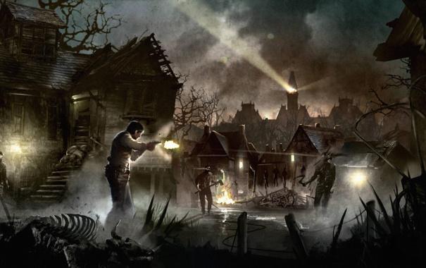 Фото обои огонь, рисунок, башня, дома, луч, выстрел, деревня