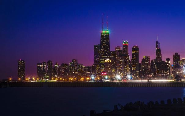 Фото обои закат, ночь, огни, отражение, Чикаго, Иллинойс, озеро Мичиган