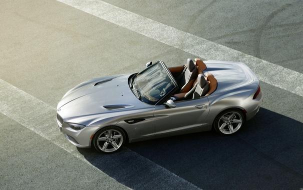 Фото обои асфальт, BMW, Бумер, Кабриолет, Серый, БМВ, Тень