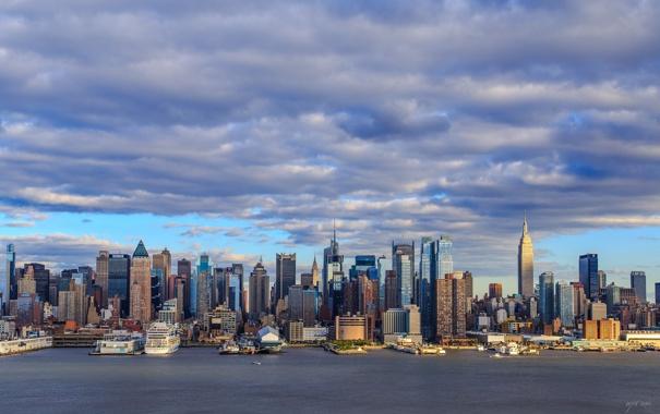 Фото обои город, панорама, Manhattan, New Jersey, Weehawken, Нamilton Park