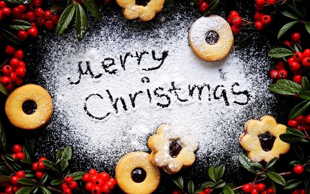Фото обои зима, ягоды, еда, Новый Год, печенье, Рождество, красные
