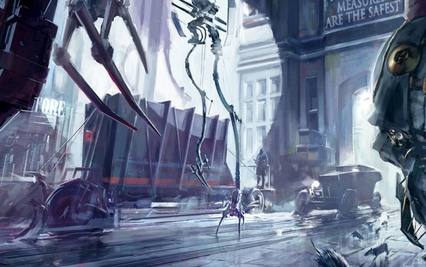 Фото обои город, механизм, робот, вагоны, арт, крысы, dishonored