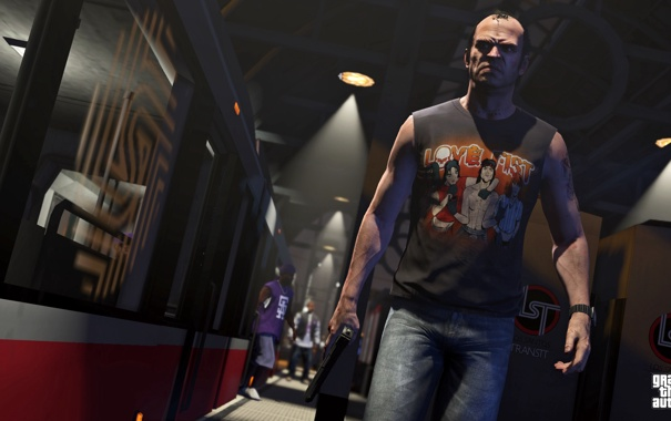 Фото обои метро, gta 5, Grand Theft Auto V, поезд, тревор, взгляд, оружие