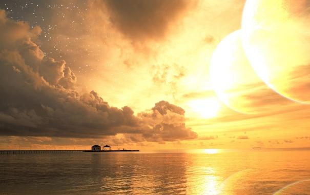 Фото обои закат, облака, звезды, солнце, лето, море