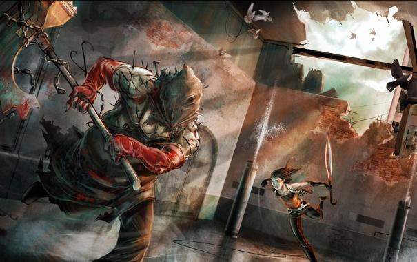 Фото обои Resident Evil, девушка, кровь, палач, зонт, схватка, топор