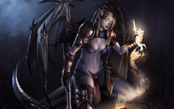 Фото обои серп, рога, жертва, девушка, душа, кулак, арт