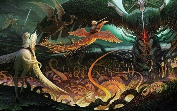 Фото обои дракон, сказка, единорог, феникс, легенда, мифы