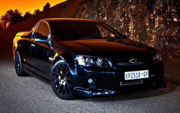 Фото обои закат, чёрный, тюнинг, Chevrolet, Шевроле, пикап, tuning